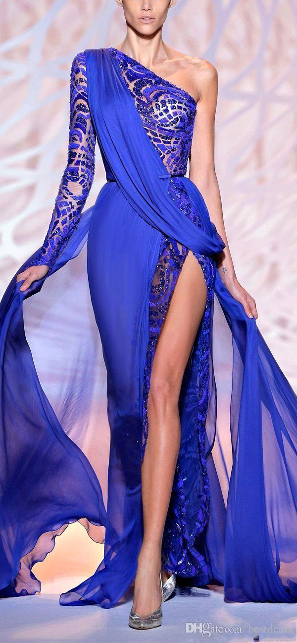 2019 Vestidos de noche hermosos de Zuhair Murad Un hombro Manga larga Royal Blue High Side Slit Pageant Vestidos de fiesta Vestido de fiesta formal BO9766