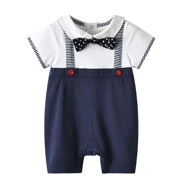 INS new arrivals summer baby kids clothes climbing romper turn down short sleeve gentleman boyromper kid summer 100% cotton rompers 0-2T