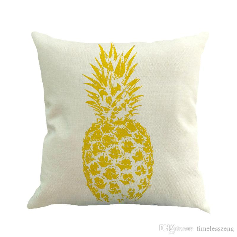 Pineapple Pattern Cotton Linen Pillow Case Throw Pillow Cushion Cover Seat Car Home Decoration Sofa Decor Decorative Pillowcase