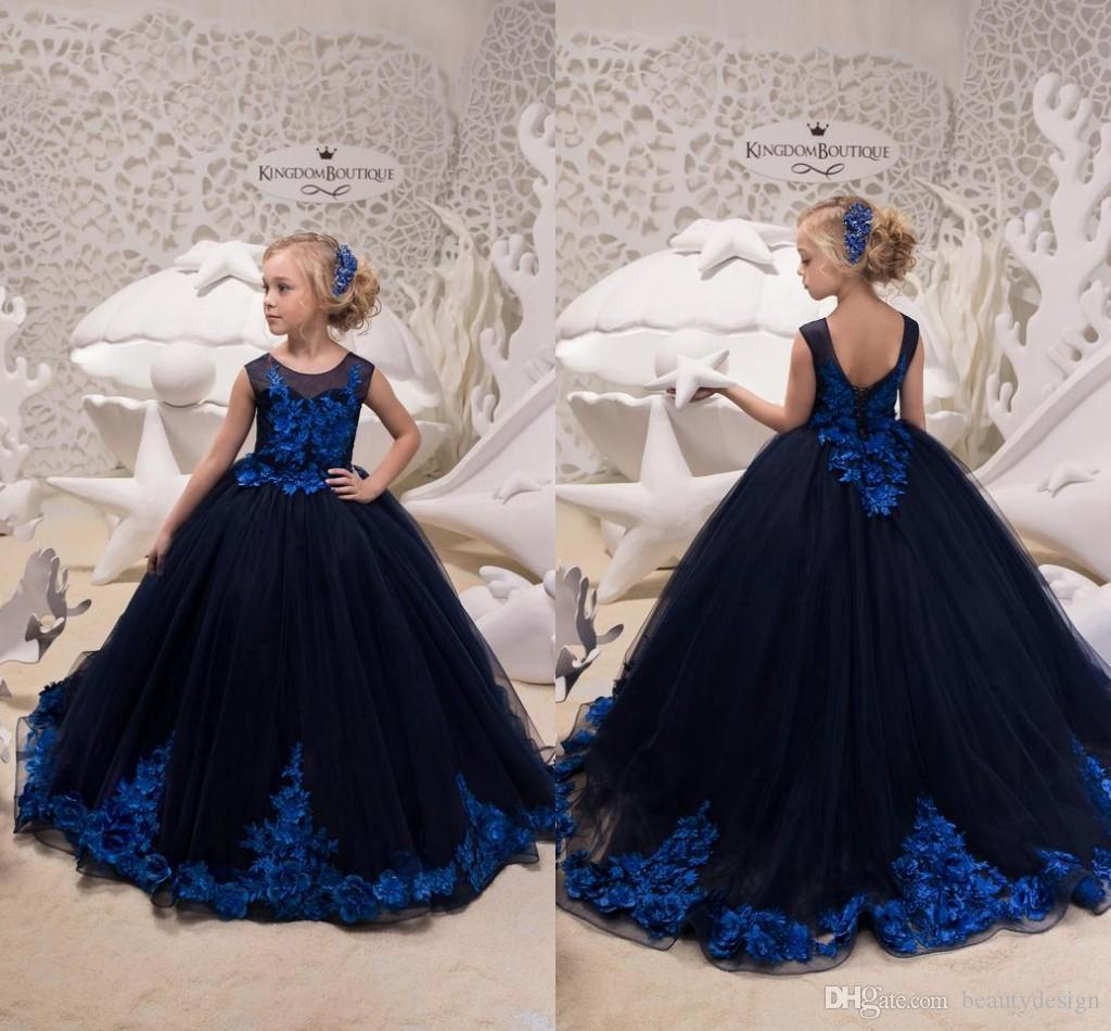 b7d73083e 2019 Gorgeous Flower Girl Dresses Dark Navy With Royal Blue Appliques Long  Kids Toddler Formal Pageant Gowns Birthday Party Dress Long Christening  Dresses ...