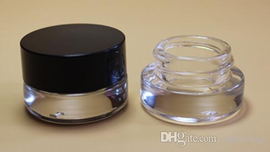 glass stash jar container 3g 3ml custom logo clear wax dab container mini  small cosmetic jar with black lid