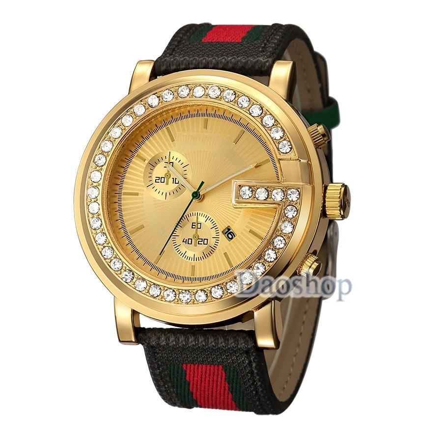 289ad167f24 2018 Fashion Male Luxury Watches Brands Designer Men Diamond Striped  Leather Strap Auto Date Analog Quartz Business Wrist Watch Gc Gift Watch  Shop ...