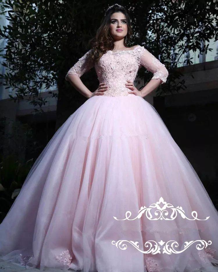 Elegante rosa Applikationen Spitze Quinceanera Kleider Ballkleider Bateau Neck 3/4 Long Sleeves Tüll Korsett Sweet 16 Kleider Prom Dresses Lace Up