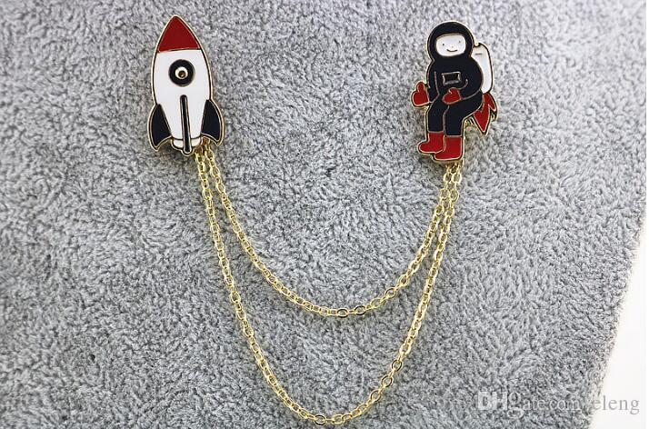 2018 Fashion new style three style astronauts/earth/rabbit girl enamel animal planet brooches women badges clothes pins wholesale 85