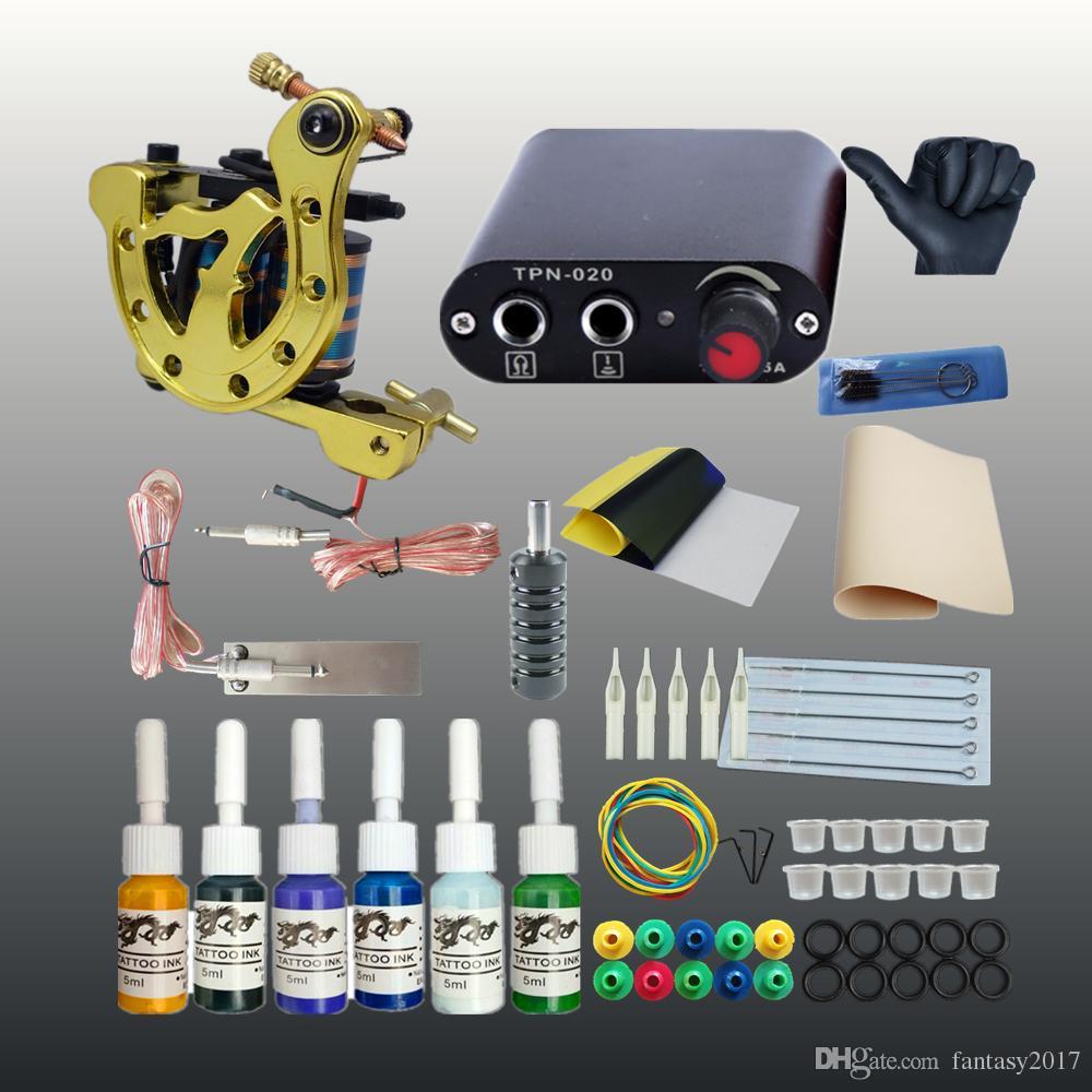 High Quality Tattoo Machine Set Coil Gun Colors Inks Mini Power Supply Beginner Tattoo Kits Permanent Makeup Tattoo Kit Cheap