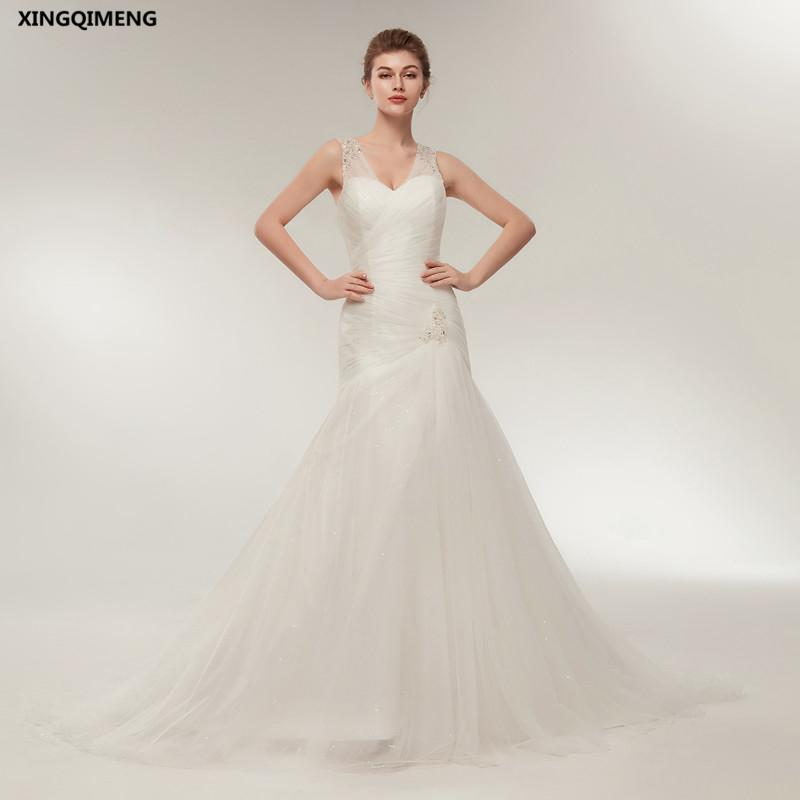 faf130870 Compre En Stock Ivory Sexy Sirena Vestido De Novia Cuentas Simples Simples  Vestidos De Novia Blanco Largo Elegante Vestido De Novia Elegante Robe De  Mariee ...
