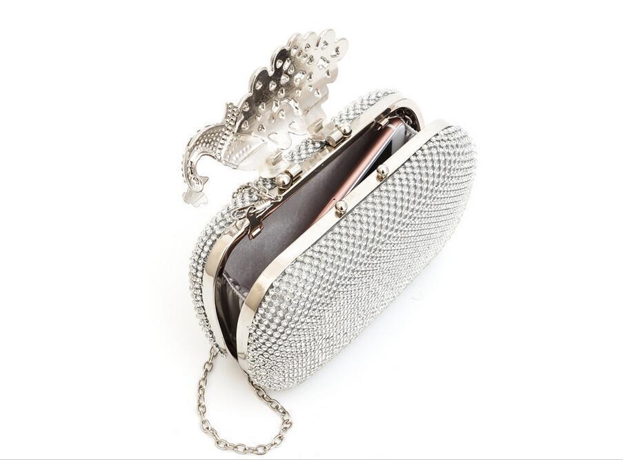 Bolso de noche de cristal de pavo real Bolsos de embrague Embragues Señora Bolso de boda Rhinestones Bolsos de boda Bolso de noche de plata