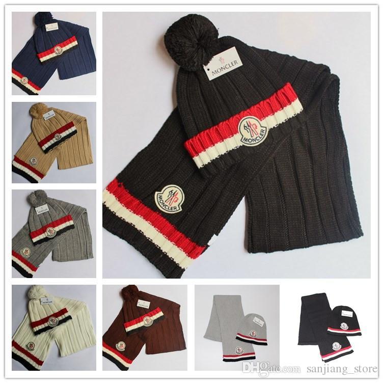 def26eccd3877 Brand Womens Pom Beanie Hat Scarf Set Mon Girls Cute Winter Ski Hat ...
