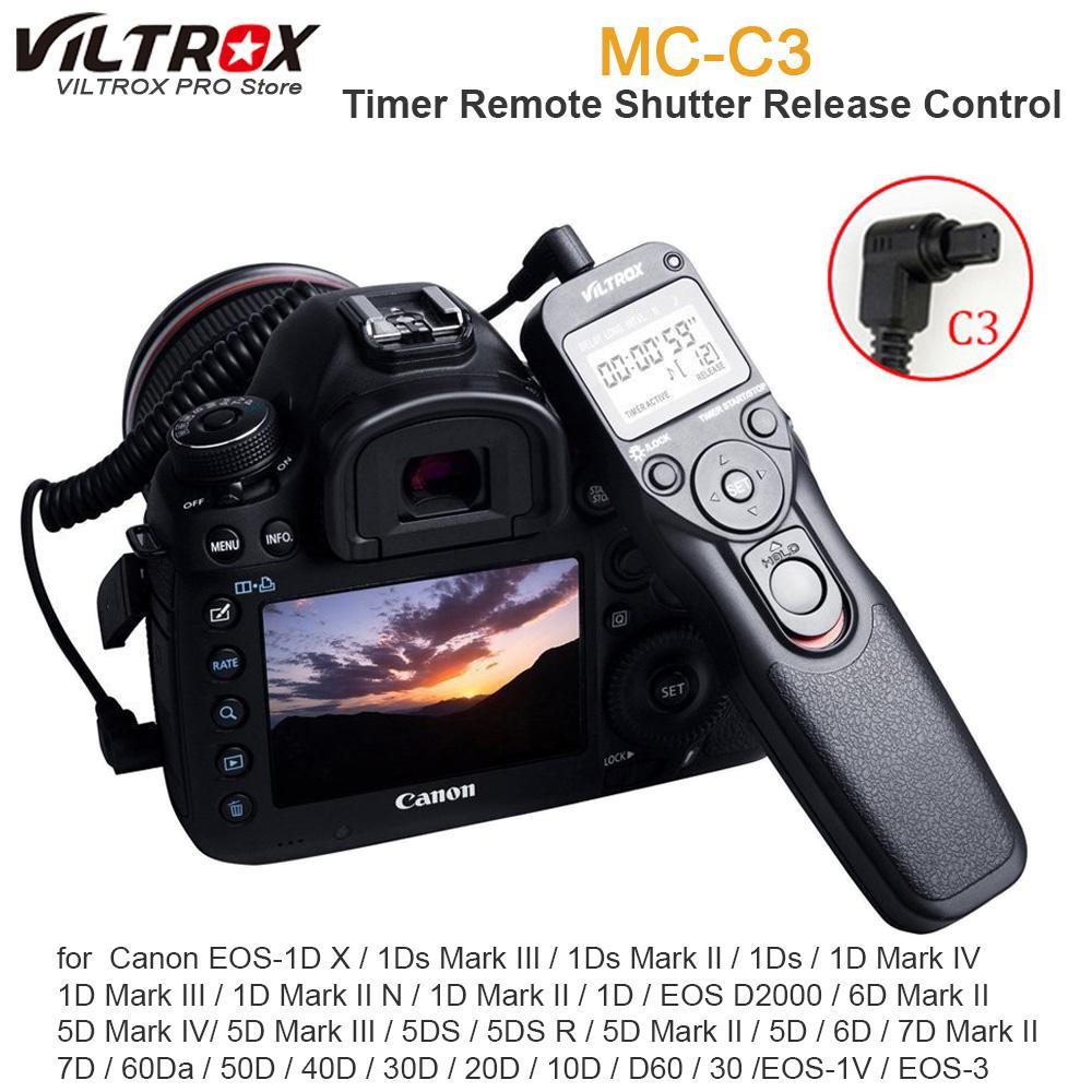 Viltrox MC-C3 LCD Timer Remote Shutter Release Control Cable Cord for 7D II  6D II 5D Mark IV 5DIII 50D 40D 30D 20D 10D 1D