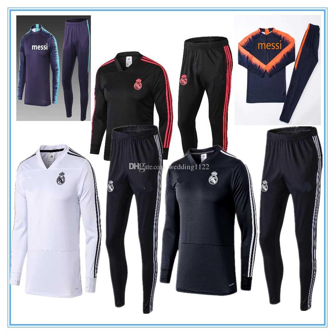 d1d67ffe821 2019 2018 19 Real Madrid Messi Tracksuit SUAREZ Soccer Suits CHANDAL  Uniforms Shirts Football A.INIES Tracksuits Soccer Kit Jerseys From  Wedding1122