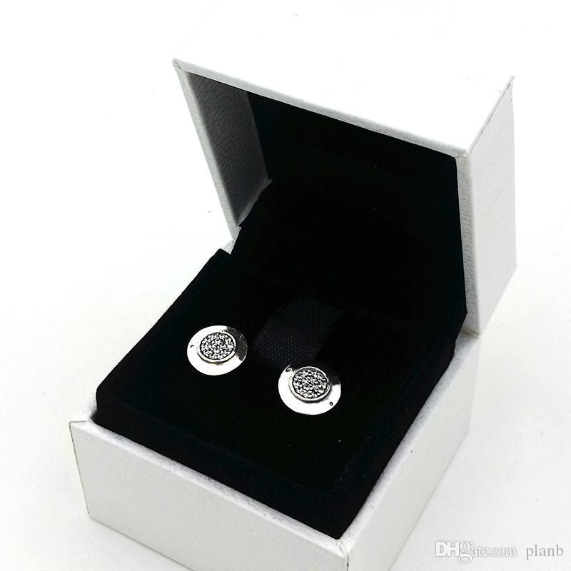Diseño clásico de las mujeres Pendientes de diseñador de joyería Caja original Para Pandora 925 Plata Esterlina Cristalino Diamante Mujeres Stud Pendiente