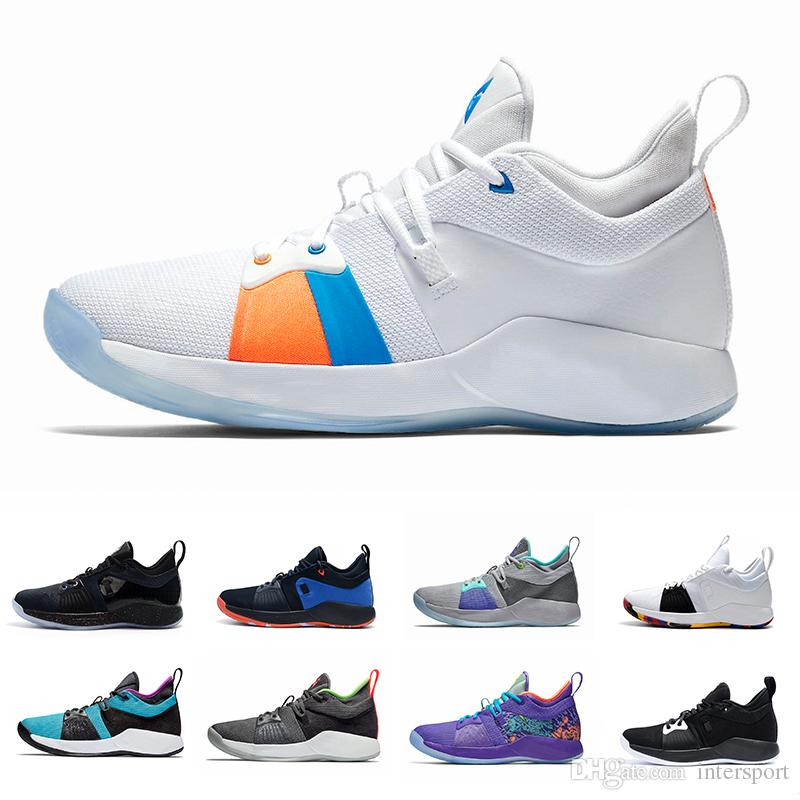 6bd81ae1b116 2018 Paul George 2 PG II Mens Basketball Shoes Pure Platinum Hot Punch  Playstation The Bait II Mamba Mentality Blue Lagoon Sports Sneakers Loafers  For Men ...