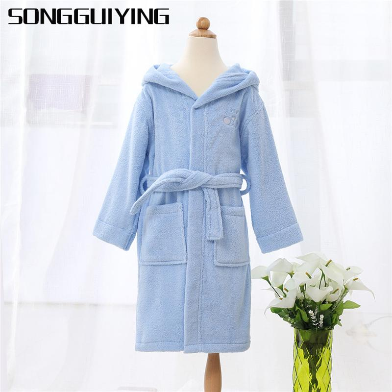 Songguiying A195 Children Hooded Bathrobe Kids Boys Girls Cotton ...