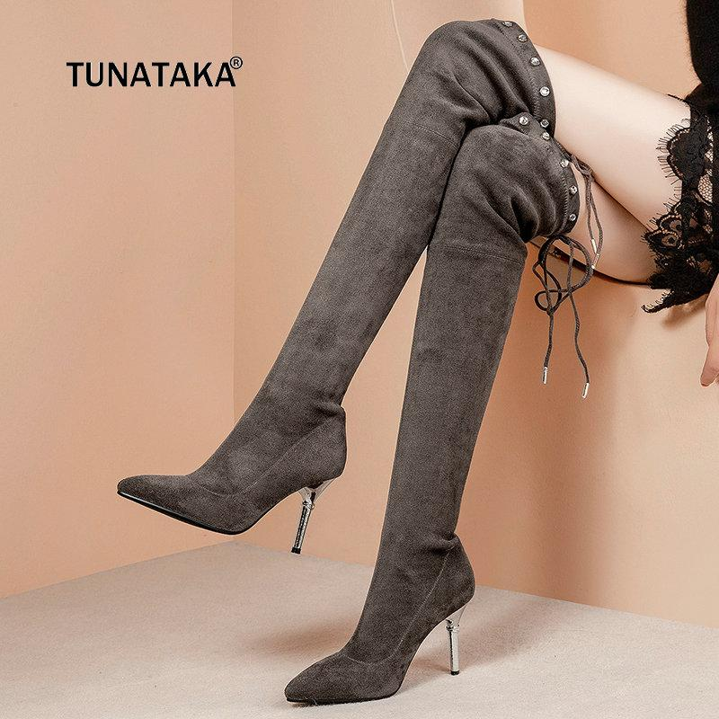 a6dc7bfc333 Women Comfort Suede Thin High Heel Lace Up Over The Knee Boots Fashion  Pointed Toe Rivet Fall Winter Stretch Thigh Boots Black Boots No 7 Bootie  From ...