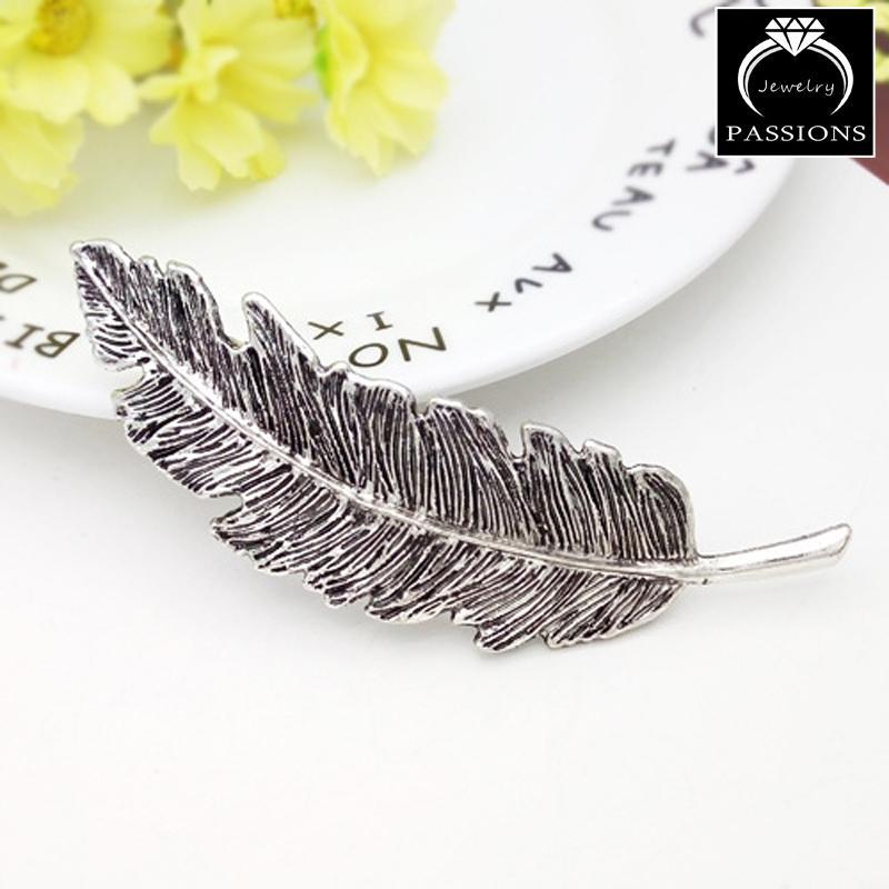 Moda bonita pinzas para el cabello Vintage GoldSilver hoja de metal forma de pluma horquilla elegante Barrettes Headwear joyería decorativa