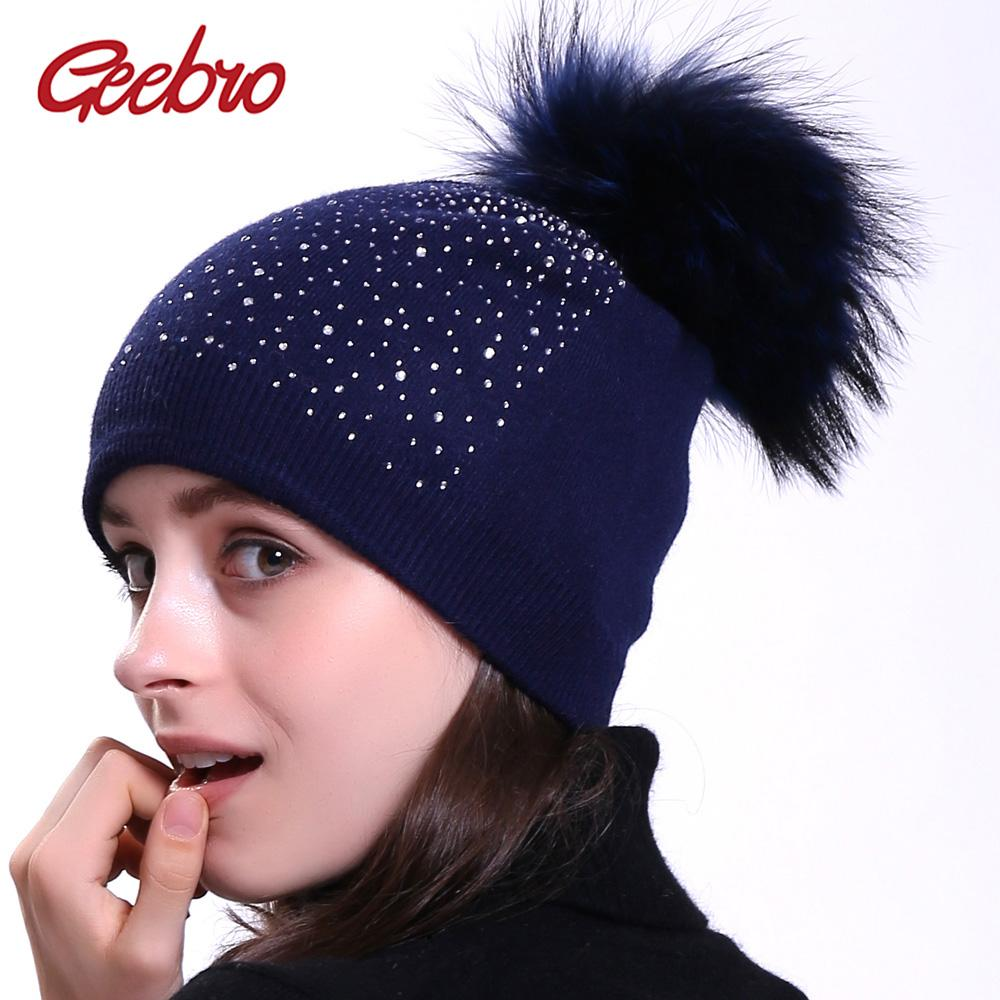 688299882416d Geebro Women s Beanie Hat with Raccoon Pompom Winter Warm Cashmere Knitted  Rhinestone Slouchy Beanie Hat for Femme Skullies
