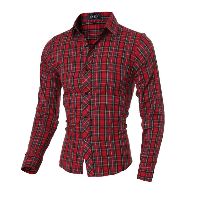 c482ce5a8524 2019 2016 New Arrival UK Stylish Fashion Design Men'S Shirts M 2XL Long  Sleeve Young Boys Casual Shirt Red Plaid Slim Fit From Sadlyric, $38.82    DHgate.Com