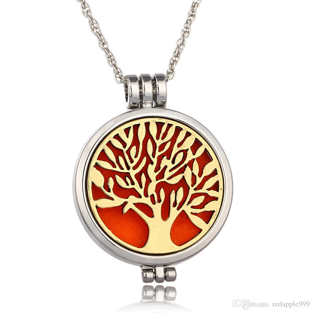 Hayat ağacı Aromaterapi Uçucu Yağ Difüzörü Kolye Madalyon Kolye 316L Paslanmaz Çelik Takı ile 24