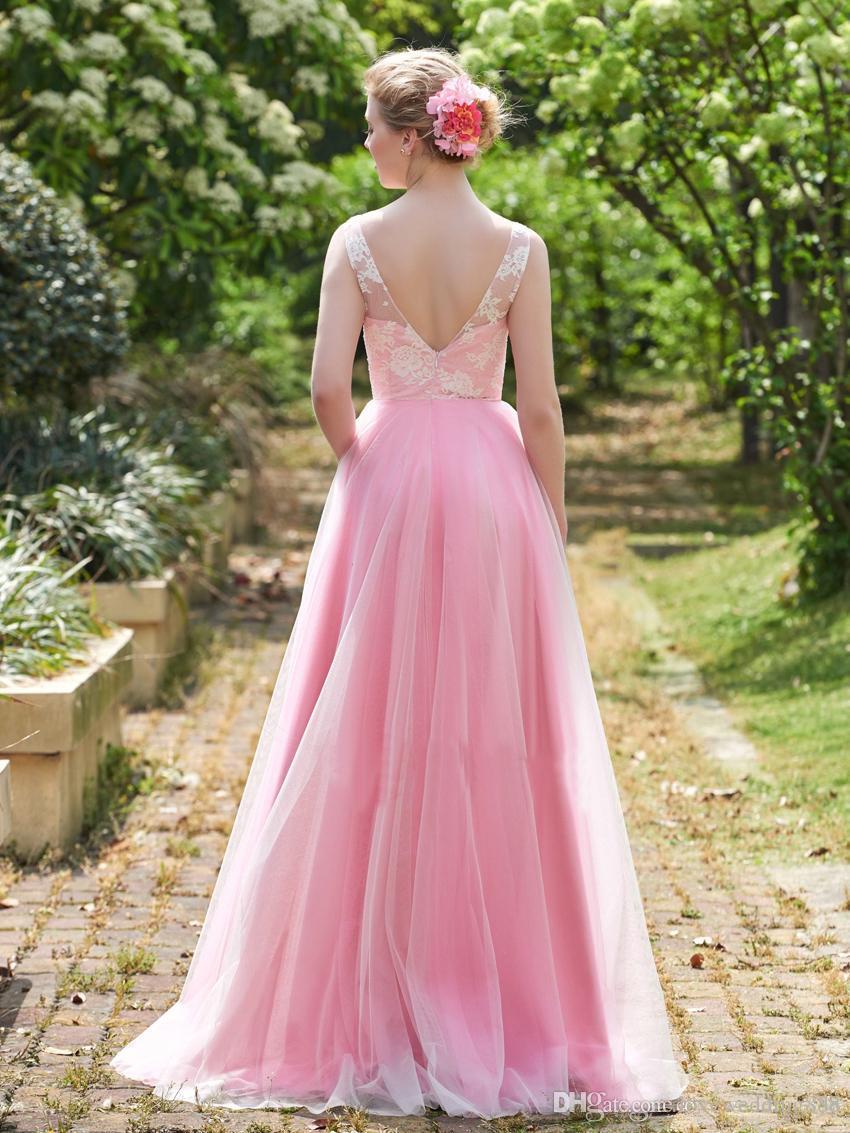 V Neck Pink Bridesmaid Dresses Custom Cheap 2018 Floor Length Sleeveless Applique Tulle Prom Party Dress A Line