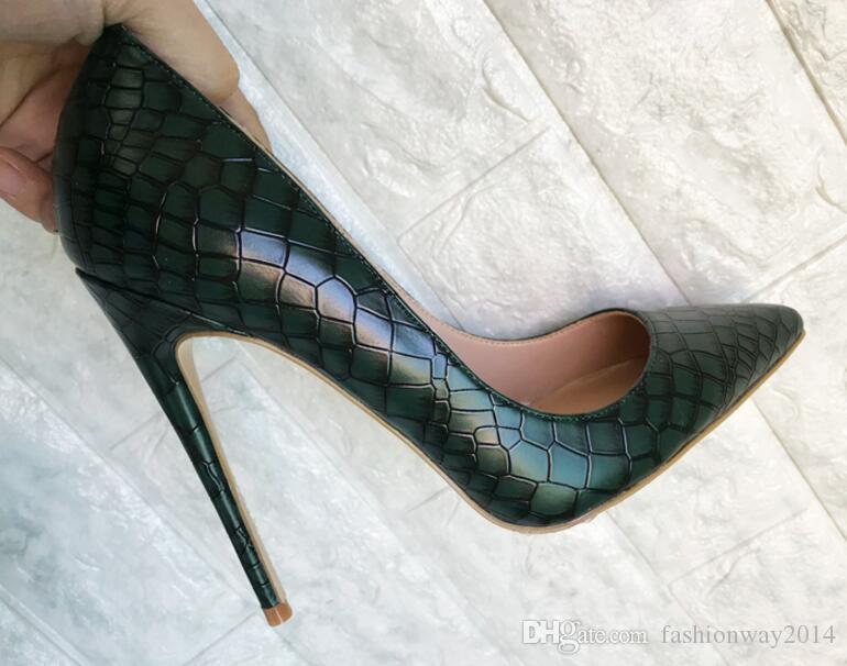 2018 Retro Stone Cut Pattern Green Women Pumps Fashion Genuine ... 7ee7a38818d2
