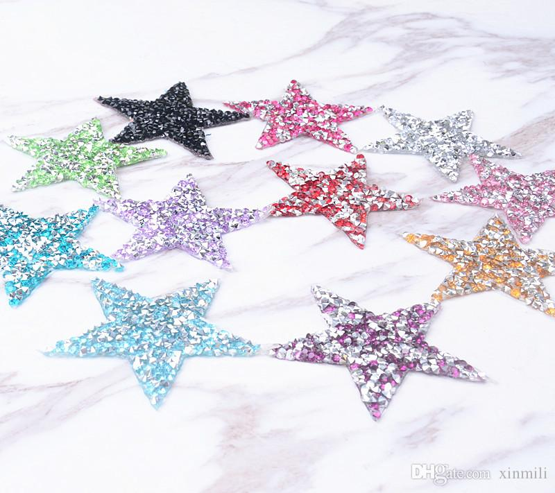 star 6cm design Hotfix rhinestones Motifs Iron on Patches heat transfer Motif crystal strass Applique for clothing craft