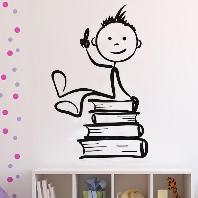 Cute Cartoon Boys Sitting On The Books Wall Stickers Children Rooms Wall  Decor Mural Pvc Removable Removable Wall Decals Nursery Removable Wall  Decals ...