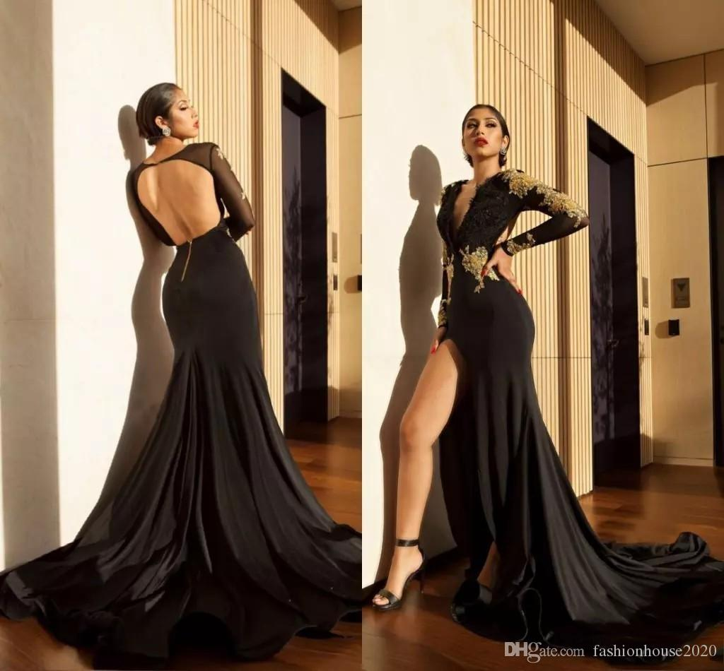 2018 Deep V Neck Prom Dresses Black Mermaid High Slit Long Sleeves Evening  Gowns For Women Gold Lace Appliques Open Back Formal Wear Prom Dress Under  50 ... 549987c0236c