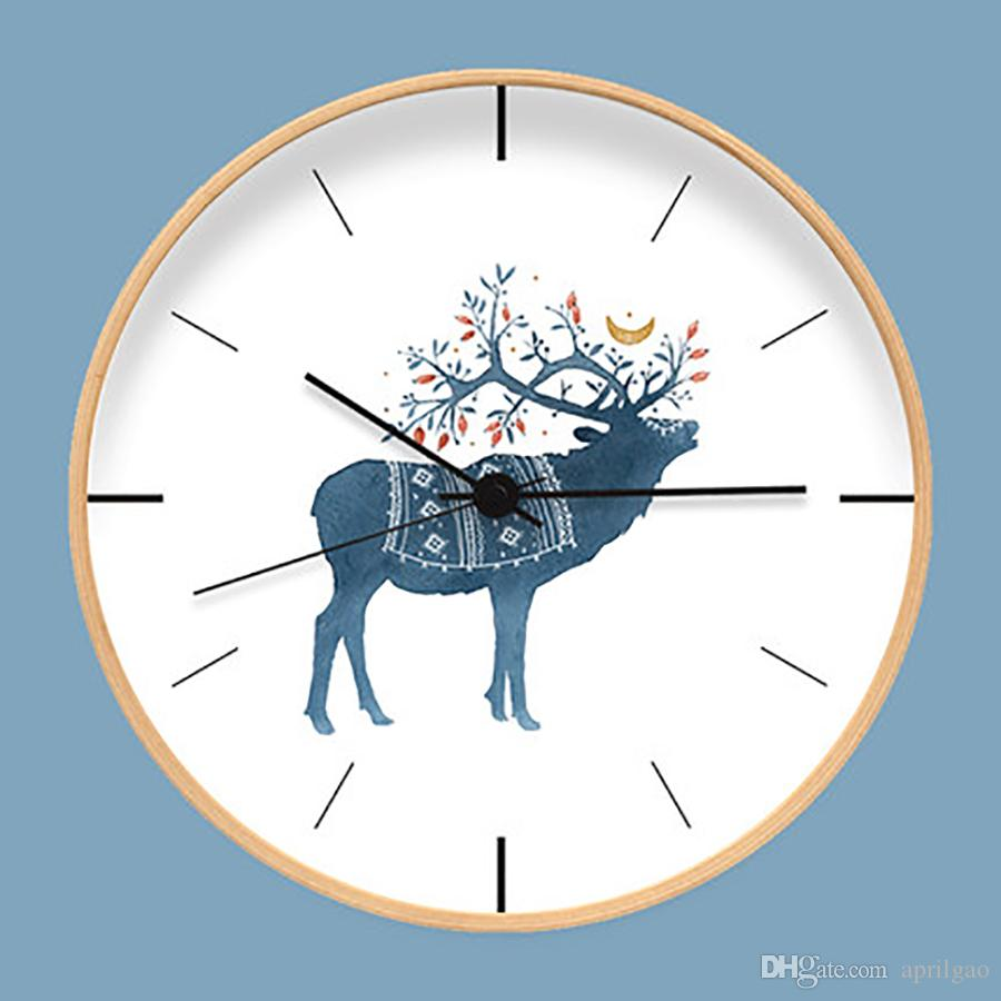 cute modern wall watch clock wood digital living room decoration