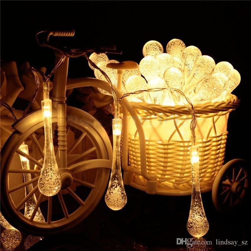 Clear Water Drop String Lights 4.8m 20 LED Solar Powered LED 3D Wedding Patio Yard Decor fast shipping