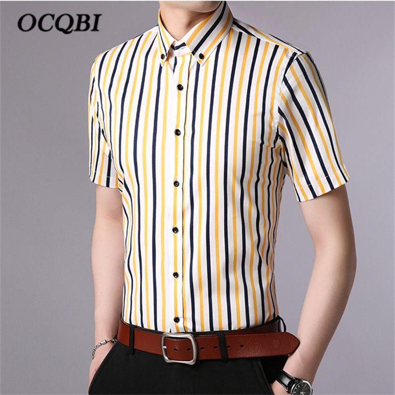 b04d36142c8 2019 Plus Size 4XL 2018 Summer Mens Korean Style Striped Smart Casual Dress Shirt  Fashion Men Slim Clothes From Octavi