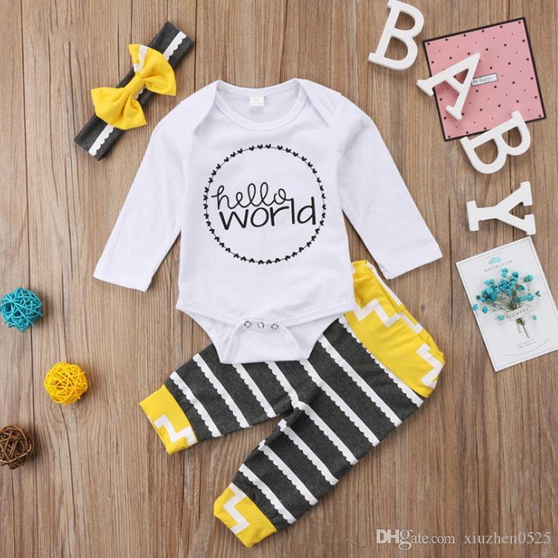 843a4f48b24 Set Newborn Infant Baby Clothes Casual Long Sleeve Hello World ...