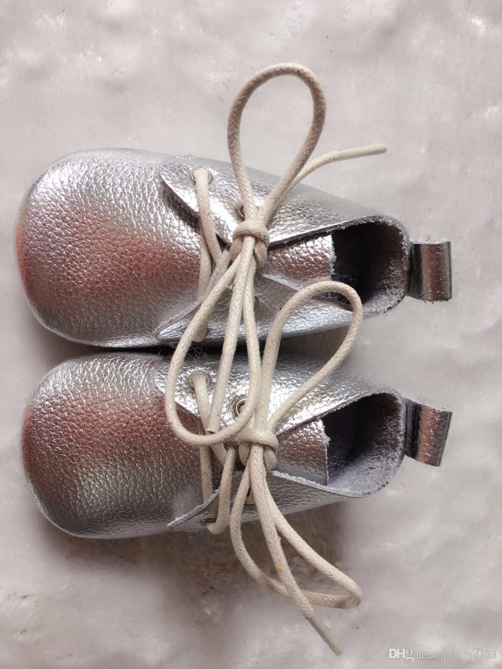 Hongteya solid Genuine Leather Classic Newborn Baby moccasins Prewalkers Lace-up Sneakers first walker girls boys shoes