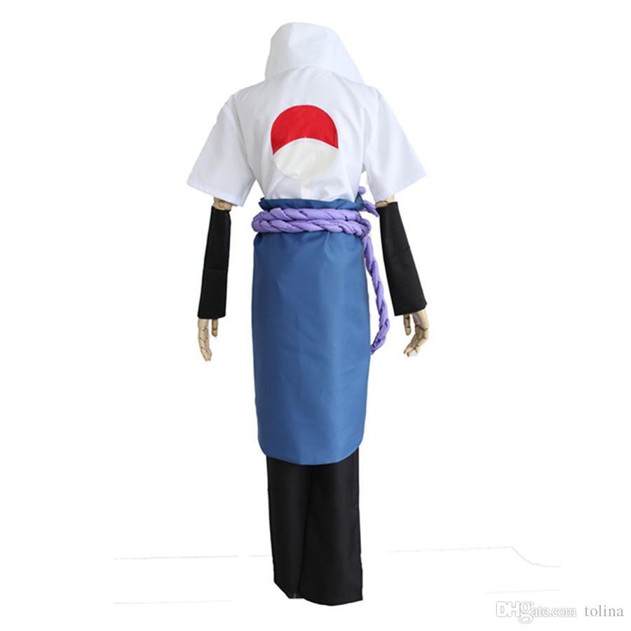 2018 Adult Kid Naruto Uchiha Sasuke Cosplay Costume Custom Made Unisex Outfits with Skirt Halloween Clothing