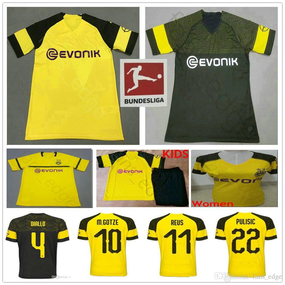 Thai Quality BVB Borussia Dortmund Soccer Jersey 2019 GUNDOGAN YARMOLENKO  M.GOTZE REUS PULISIC BATSHUAYI 18 19 Men Kids Women Football Shirt PULISIC  Jersey ... ce173eecb