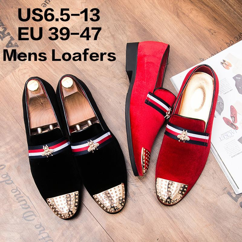 b8fa8bc9d39 Men S Velvet Loafers Slippers With Gold Metal Wedding Dress Shoes Slip On  Smoking Flats Red Black For Tuxedo Banquet Party Prom Even Loafers For Men  Red ...