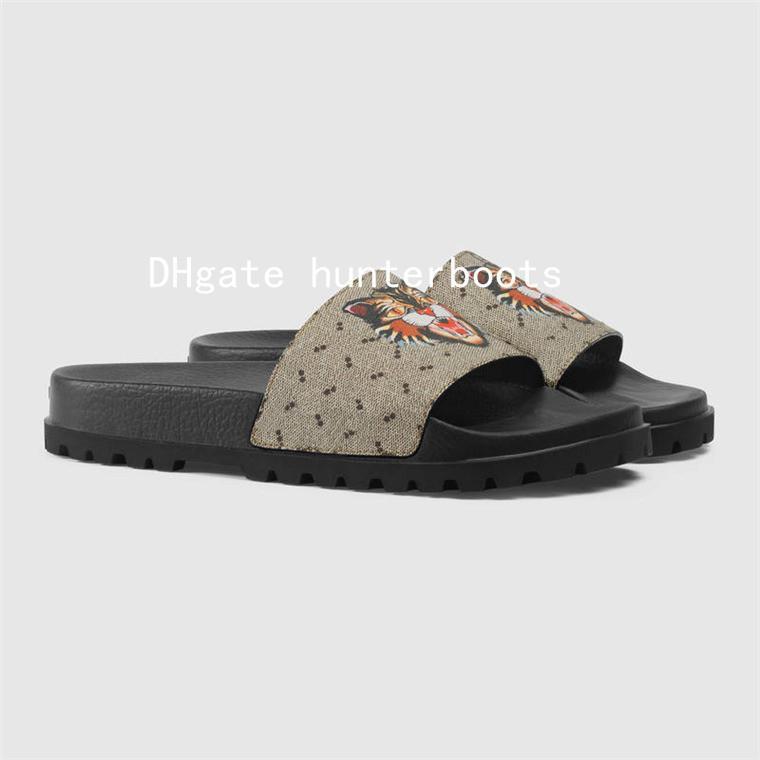 2017fde7f1fc Men Rubber Slide Sandals Designer Shoes Blooms Tiger Bees Snake Luxury Slide  Summer Wide Flat Slippery With Thick Sandals Slipper Flip Flop Fur Boots  Glass ...