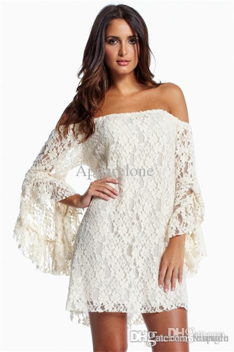 501c7e0ede7b Wholesale Plus Size XXL Vestido De Renda Curto Autumn Dress Cream Black  Lace Off Shoulder Formal Mini Casual Dresses For Women LC2809 Dresses Uk  Women ...