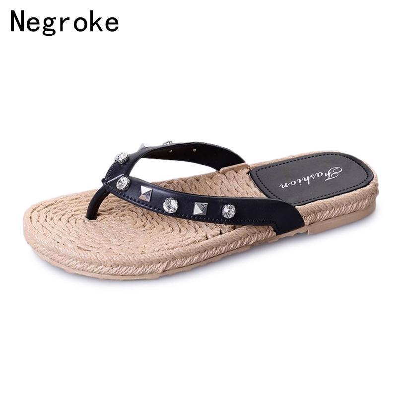 29c87d83a4 Estate strass infradito stile della boemia cinturino alla caviglia sandali  con tacco spesso suola in gomma appartamenti pantofole scavate donne scarpe
