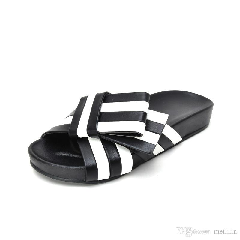 Summer Bowknot Black And White Gingham Flat Slippers Woman Fashion Outdoor  Mules Shoes Women Casual Beach Shoes Slippers Woman Mules Shoes Women Beach  Shoes ... 344149e4f967