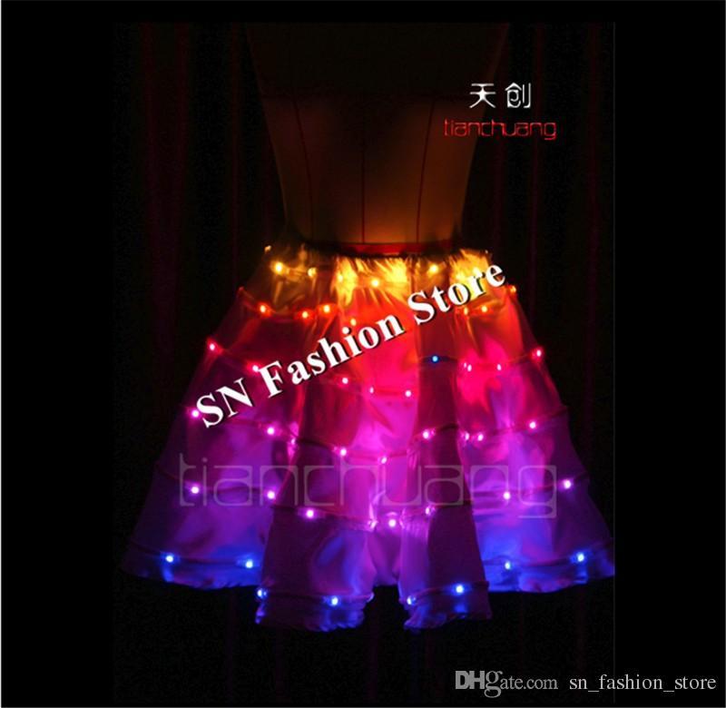 TC-72 Programming led costumes ballroom dance women led dress party dancer singer stage wears luminous light Panniers clothes
