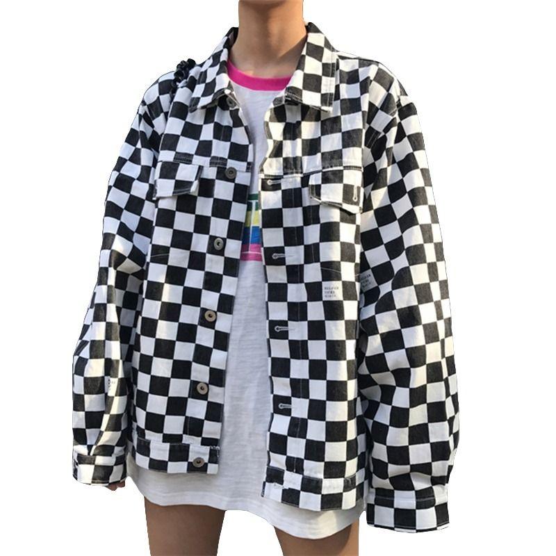e4ecd0db691ff4 Großhandel 2018 New Harajuku Schwarz Weiß Plaid Jacke Frauen Langarm Casual  Lose Single Breasted Grundlegende Mantel Mode Drucken Weibliche Jacke  D1891901 ...
