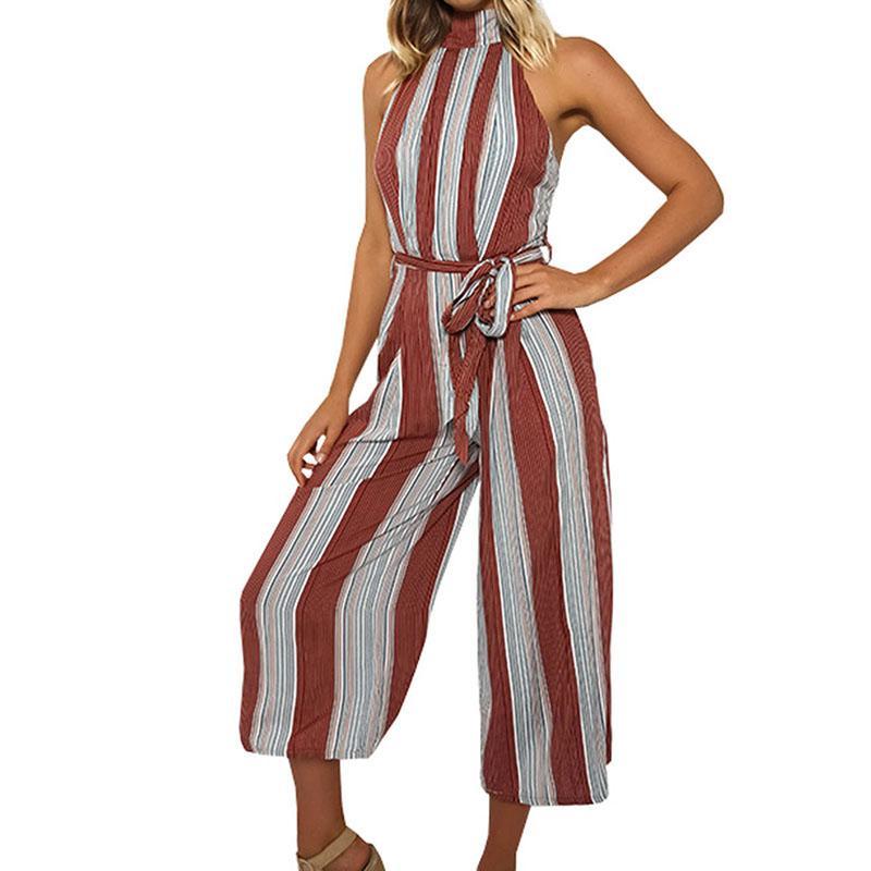 Elegant Vertical Striped One Piece Linen Wide Leg Jumpsuit Women Sashes Plus Size Sexy Backless Jumpsuits