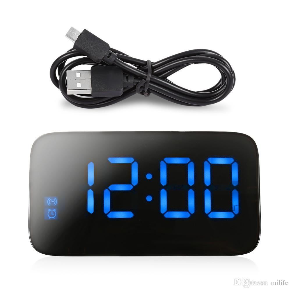 efdc1925ec9 Compre Despertador LED Grande Display LED Digital De Mesa Relógios De Mesa  Eletrônico Snooze Backlight Controle De Voz Com Cabo USB De Milife