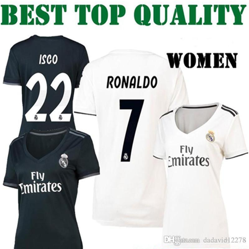 88ed78a63939e Mujer 2018 2019 Camisetas De Fútbol Del Real Madrid Chica Local Visitante  RONALDO ASENSIO MARCELO KROOS ISCO BALE 18 19 RONALDO MUJER Camisetas De  Fútbol ...