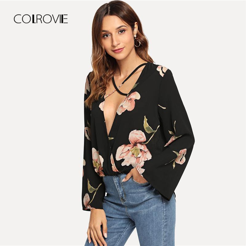 Großhandel Colrovie Schwarz Tiefem V Ausschnitt Criss Cross Blumen Sexy Bluse  Hemd 2018 Herbst Solid Bell Ärmel Büro Dame Frauen Blusen Und Tops Von ... 83e1b3f1cd