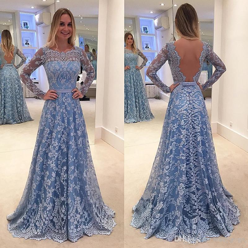 2018 Modest Ice Blue Lace Long Sleeve Prom Dresses Backless Full length Jewel Fairy Plus Size Arabic Dubai Occasion Evening Gown Cheap