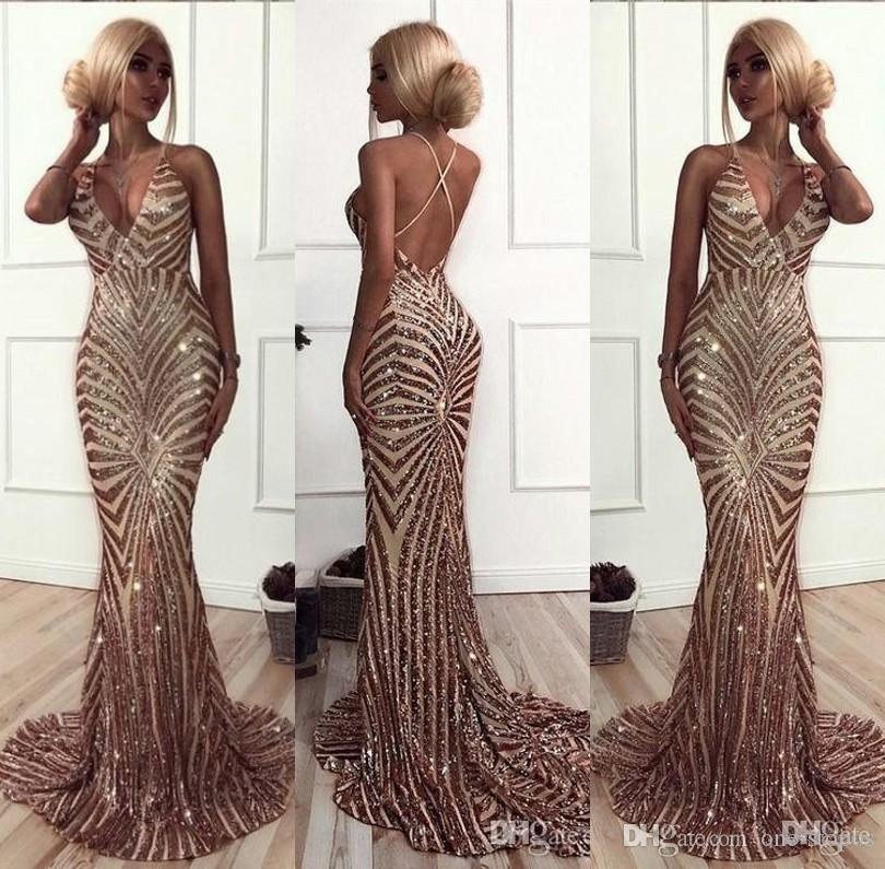 e88319e912e Sparkly Mermaid Rose Gold Sequins Prom Dresses 2018 African Luxury V Neck  Sweep Train Backless Pageant Party Dresses Formal Evening Gowns Cheap Ball  Gown ...