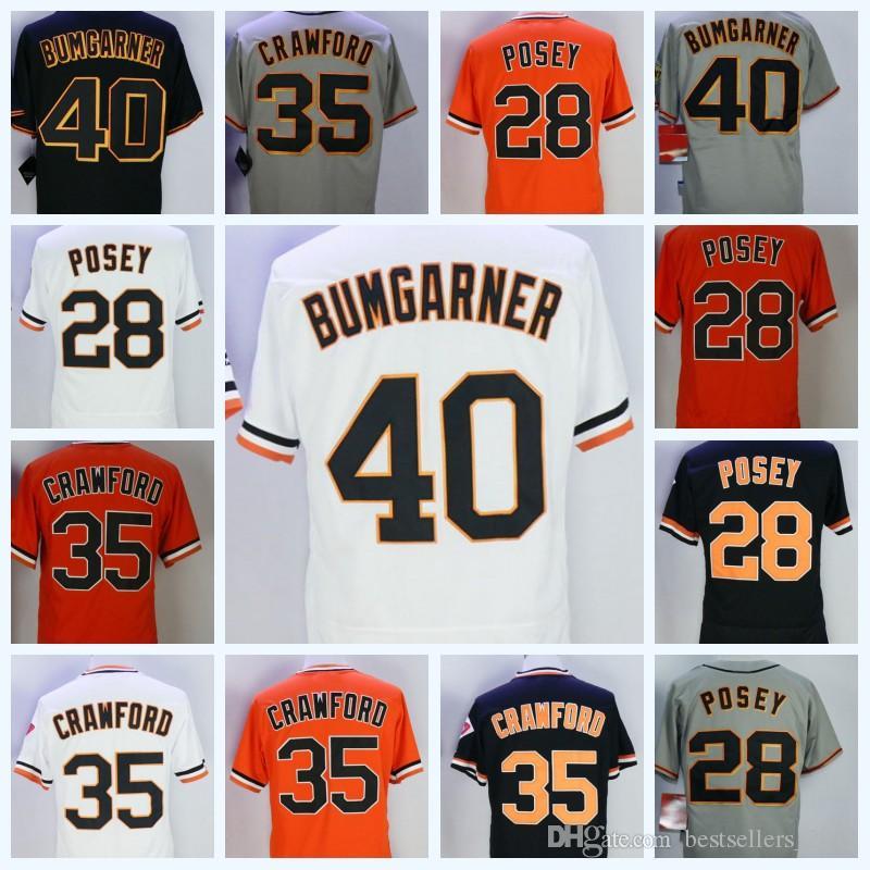 Cheap Men s Jersey Stitched Embroidery Baseball Jerseys 28 Buster Posey 35  Brandon Crawford 40 Madison Bumgarner Jersey 68490196c