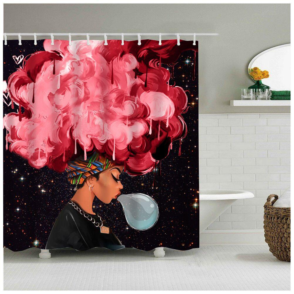 2019 High Quality Different Custom Waterproof Bathroom African Woman Shower Curtain Polyester Fabric From Hopestar168 3341