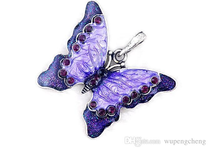 Colorful enamel alloy butterfly pendant necklace is specially designed for women coat collar clip sweater pendant pendant animals